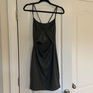 Dresses - Gray Open Back Mini Dress